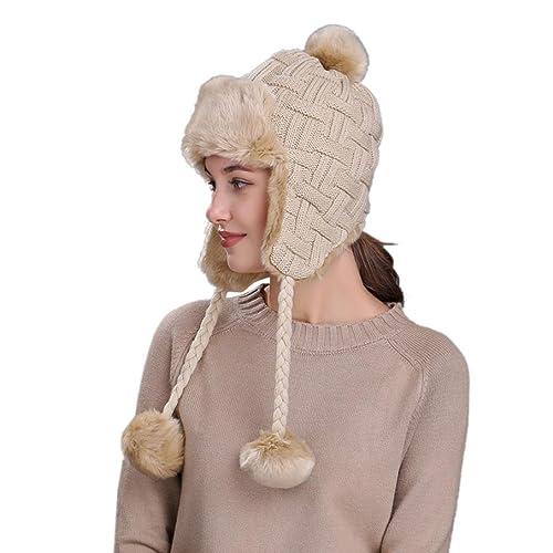 5bae2ccf6e5ffb Webla Warm Women Winter Hat Ski Knit Wool Beanie Cap Thick Lining Snow Hat  with Ear