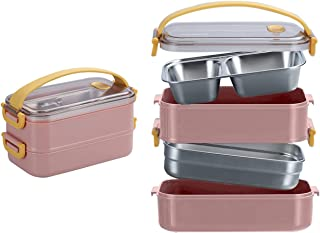 Smilee Stainless Steel Bento box for kids and adults with Dividers 800 ml - Leakproof lunchbox, On-the-Go Meal and Snack P...
