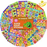 36 Sheets Scratch and Sniff Stickers, 9 Different Sweet Smells Have Fun with Your Teachers, Parent, Friends for Reward, Crafts, Motivation-Reward Stickers.