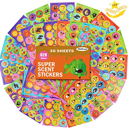 HORIECHALY 36 Sheets Scratch and Sniff Stickers, 9 Different Sweet Smells Have Fun with Your Teachers, Parent, Friends for Reward, Crafts, Motivation-Reward Stickers.