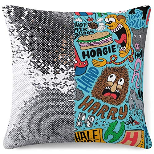 Magic Throw Pillow Cover Flip Sequin Cushion Case Crazy Alphabet Party Bedroom Decor Gag Gifts Personalized Pillowcases (16 in x 16 in) 40 cm x 40 cm