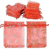 100pcs Bolsas Bolsitas Organza Copos de Nieve 9x 12 cm Saquitos Arroz Regalo Joyas Caramelo Dulces Recuerdo Favores Detalles para Boda Fiesta Bautizo Navidad con Cintas Rojo