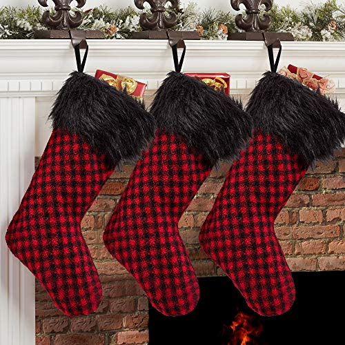 Arnzeh Christmas Stockings, 3 Pack 18 inches Red and Black Buffalo Plaid with Plush Cuff, Classic Stocking Christmas Decorations for Home Party Xmas Fireplace Hanging Ornament Gifts (Red/Black)