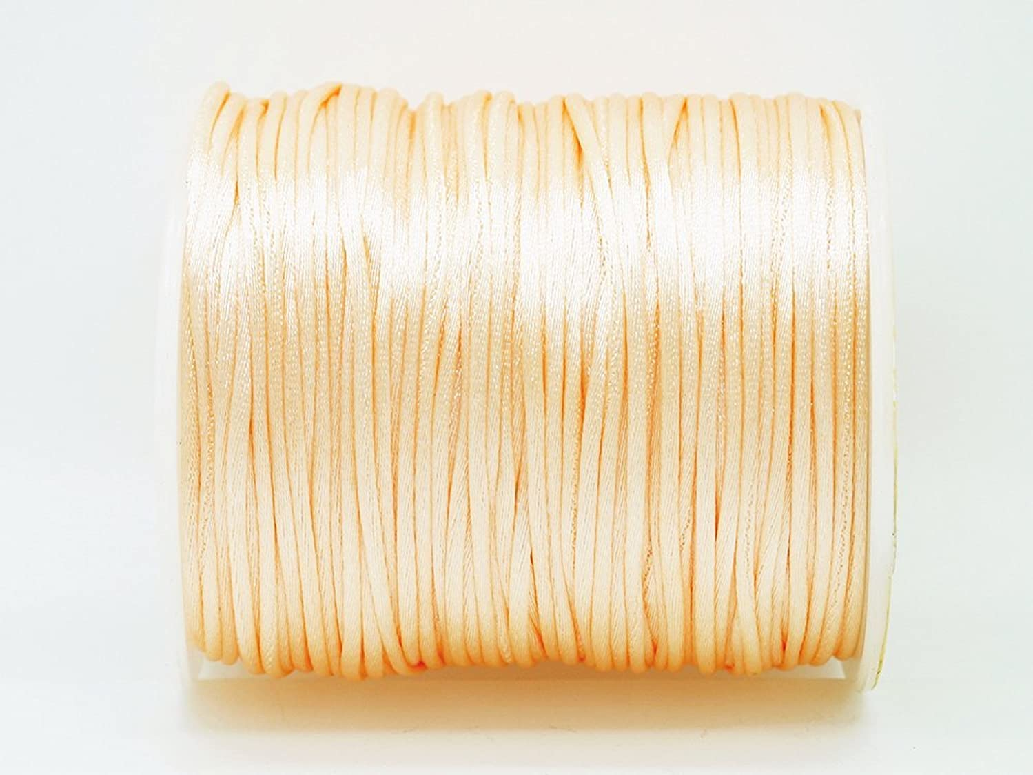 PEACHPUFF 1mm Bugtail Satin Cord Shamballa Macrame Beading Nylon Kumihimo String (210ft Spool)
