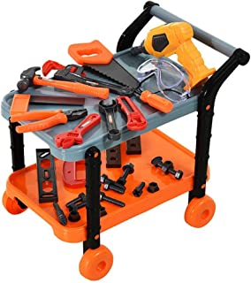 H.M Kids Play Workbench Toddlers Pretend Construction Tools Set 32pcs with Realistic Sound & Rolling Cart