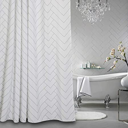 Aimjerry Hotel Quality Striped Fabric Shower Curtain for Bathroom, Washable White 72 X 72 Inch