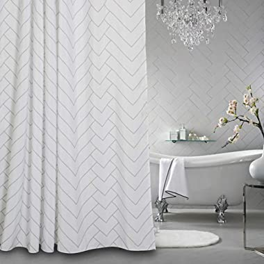 AIMJERRY Luxury Hotel Style Striped Fabric Shower Curtain for Bathroom, Modern White 72 X 72 Inch