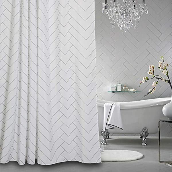 Aimjerry Hotel Quality White Striped Fabric Shower Curtain For Bathroom 72 X 72 Inch
