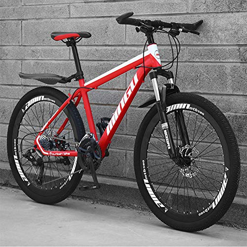 LAOLI Adult Carbon Steel Mountain Bike, 26 Inch Wheels, 21-24-27 Speed Variable Speed Gears Dual Disc Brakes Shock Absorption Mountain Bicycle,Red,24 Speed