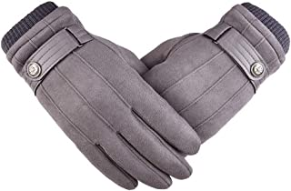 SGJFZD Winter Gloves Outdoor Suede Touch Screen Gloves Walking Cycling and Running for Men Women Thermal Gloves (Color : Gray, Size : OneSize)