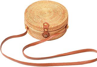 Round Rattan Bag,Handwoven straw bags for women,womens purses and handbags with Leather Straps