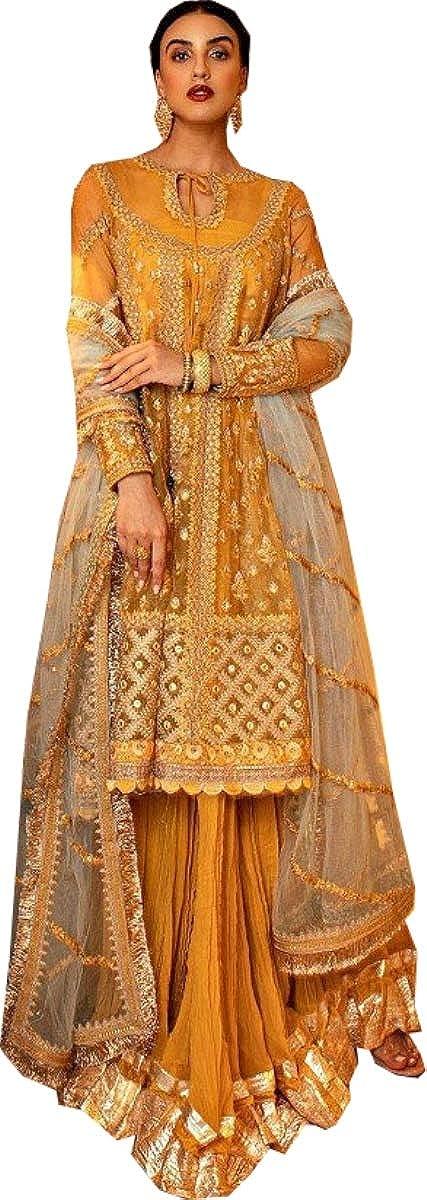 REKHA Latest Indian Pakistani Party Wear Wedding Wear Anarkali Gown Suit for Woman Embroidery Work Un Stitch Salwar Kameez 487 Yellow