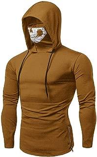 Hosamtel Mens Mask Skull Hoodie Solid Turtleneck Long Sleeve Fashion Sport Pullover Hooded Sweatshirt Tops Shirt