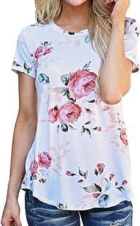 女性 半袖Hodarey レディーストップス 花柄 上着 おしゃれ半袖 カジュアルシャツ人気 夏服シンプル 半袖 ゆったり Tシャツ 可愛い レディース 上着 ファション スウェットシャツ女性 半袖 春夏 tシャツ通勤 トップス 日常着 部屋着 上着