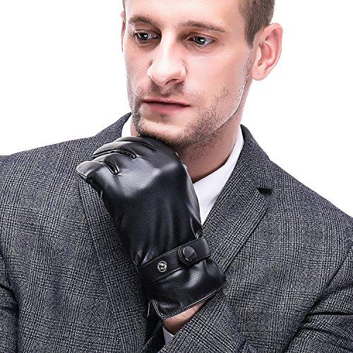 Acdyion Herren PU Lederhandschuhe Touchscreen Warme Winterhandschuhe Herren Outdoor Handschuhe Warme (X-Large, Schwarz)