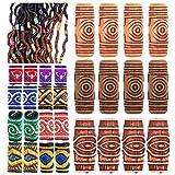 28 Pcs Lychee Fabric Dreadlock Bead Braiding Decoration DIY Accessory Barrel Beads Loose Beads Fashion New Hip-Hop Style