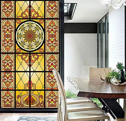 KUNHAN Film pour vitre Eglise de Couleur européenne Transparent Opaque Auto-adhésif Porte coulissante armoire verre autocollant fenêtre film-90x100 cm