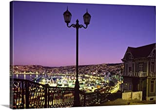 Chile, Valparaiso, View of The Town from Naval Museum Canvas Wall Art Print, 18