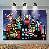 Foto Fondos Decoración de Superhéroe para Fiesta de Cumpleaños Superhéroe Telón de fondo para Niños para Mesa de Postre Banner - 1.5 x 3 pies