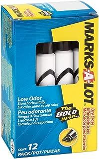 Marks-A-Lot  Dry Erase Marker, Black, Pack of 12 (24408)