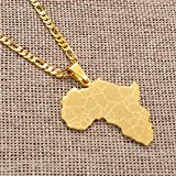 Anniyo Africa Map Pendant Necklaces Women Men Gold Color African Jewelry077621B