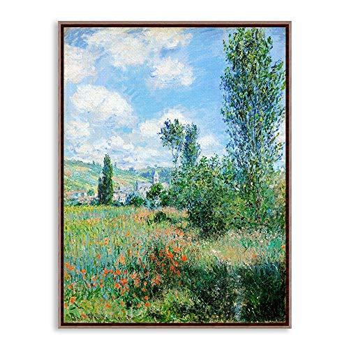 HANTAODG Impresión De La Lona Impresionismo Moderno Claude Monet House Campo Floral Paisaje Lámina Impresión De Pared Cuadro De La Pared Pintura Al Óleo Decoración 50Cmx70Cm