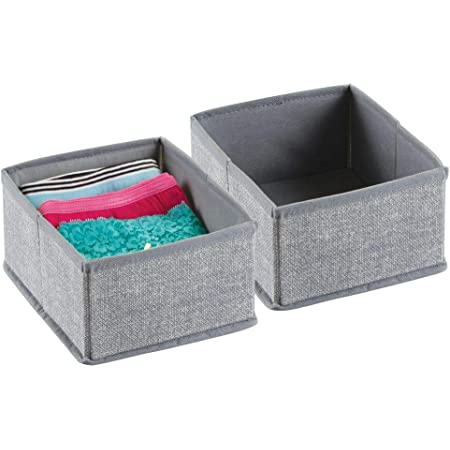 Decken f/ür Ordnung im Kleiderschrank Accessoires und mehr Stoffkiste mit Griff und offener Oberseite f/ür Kleidung mDesign 4er-Set Aufbewahrungsbox aus Kunstfaser braun