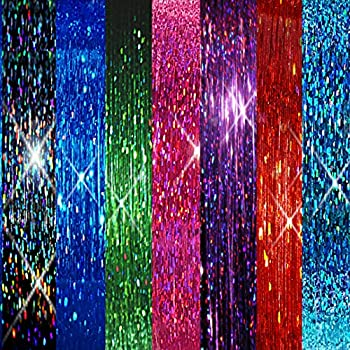 40  Hair Tinsel 250 Strands 7 ALL Sparkling Colors  Blue Flame Blue Sea Green Emerald Pink Fuchsia Purple Orchid Red Fire Midnight Black