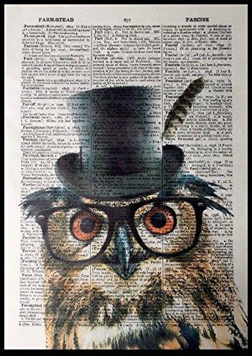 Parksmoonprints Gufo Stampa Vintage Dizionario Pagina Wall Art Picture Bird Funny Animal Occhiali