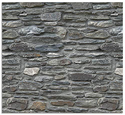 Artland Spritzschutz Küche aus Alu für Herd Spüle 60x55 cm Küchenrückwand mit Motiv Steinwand Schiefer Steinoptik Mauer Stein Grau J5PG