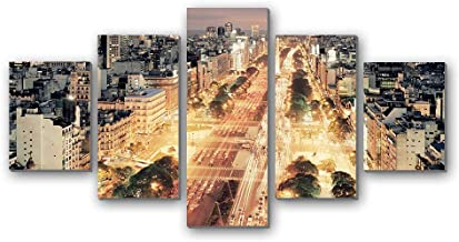 GLITZFAS PRINTS 5 Panel Wall Art Painting - Buenos Aires Traffic City Night - Canvas Stretched with Wooden Frame for Home Decor (12