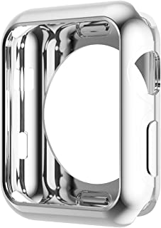 HOCO Case for Apple Watch 3 iWatch TPU Plated Plating Protective Bumper Cover Ultra-Thin Scratch-resistant Flexible Slim Lightweight Cover for Series 2 Series 3 (42mm Silver)