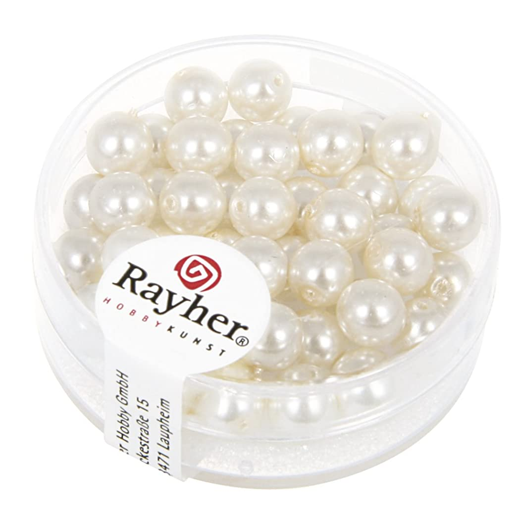 RAYHER HOBBY 14401102?Renaissance Glass Wax Beads Diameter 6?mm, Dose 45?Stück, wei?