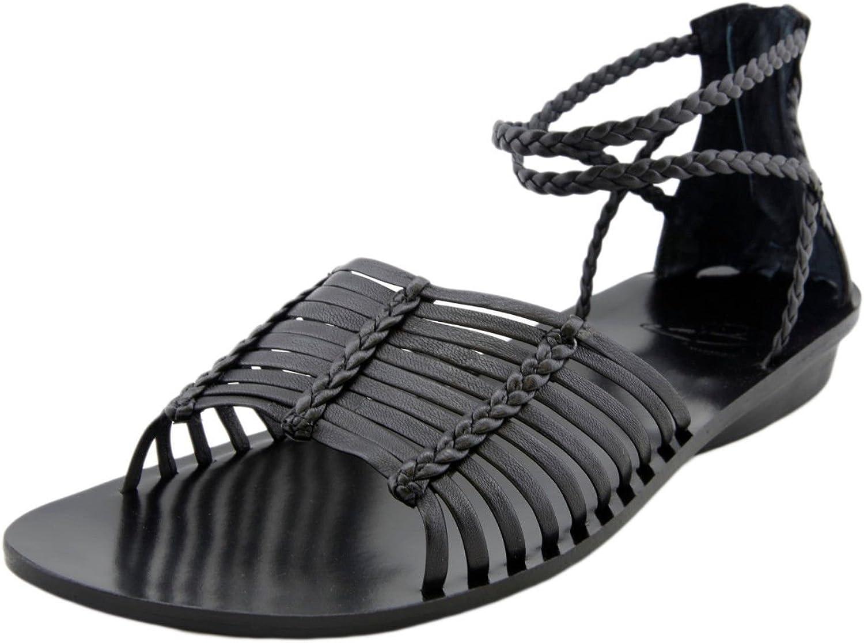 B MAKOWSKY Women's Glenda Blk Leather Strap Flat Sandals shoes A215562