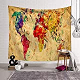 Tapiz de Mapa del Mundo, Tapiz de Acuarela con luz del Mundo, Colorido, Decorativo para Colgar en la Pared, tapices de Globo terrestre para recámara o recámara, Estilo a, 203x150cm/79.92'x59.05'