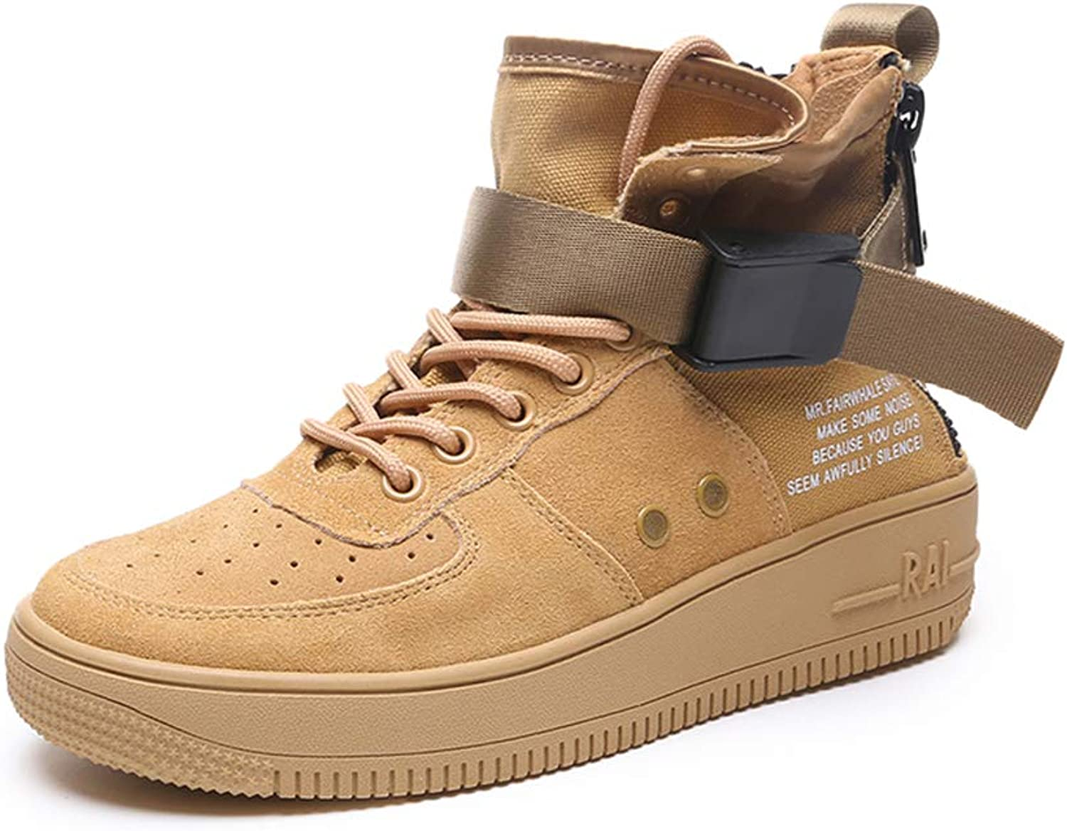 IGxx Men's High-top Sneakers Suede Hook&Loop Lace-up Basketball shoes Women Girl