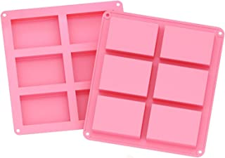 2 Pack 6 Cavities Silicone Soap Mold, 6 Cavity DIY Soap Molds, Rectangle Baking Mold Cake Pan Biscuit Chocolate Mold, Ice ...