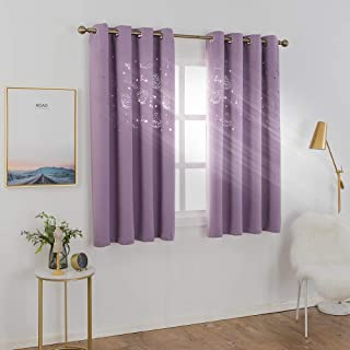 MANGATA CASA Kids Blackout Curtains Grommets 2 Panels with Cutout Star & Butterfly for Nursery Bedroom,Thermal Window Curtains Panel for Living Room Darkening Drapes (LILAC-52X63inch)