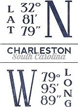 Charleston, South Carolina - Latitude and Longitude (Blue) (9x12 Fine Art Print, Home Wall Decor Artwork Poster)