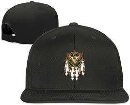 Native American Feather Snapback Flat Bill Baseball Cap Unisex Black