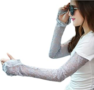 George Jimmy Summer Lace Sunscreen Clothing Women Long Gloves Breathable Sun Protection Long Arm Sleeves Protect Your Arm(Gray)