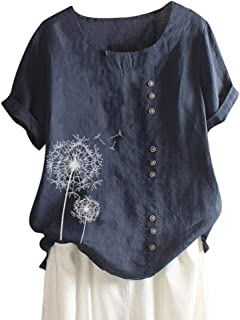Londony❀♪ Women's Short Sleeve Cotton Linen Jacquard Blouses Top T-Shirt Linen Retro Chinese Frog Button Tops Blouse Navy