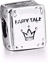 EVESCITY Silver Fairytale Fairy Tale Story Book Bead Sterling Charm Fits Pandora & Similar Bracelets