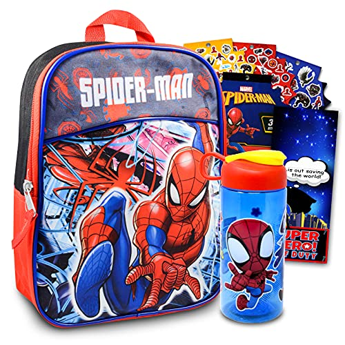Spiderman School Bag Mini Backpack for Kids -- 4 Pc Bundle With 11