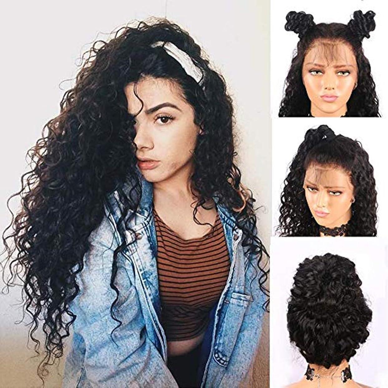 代表してますます呪われた女性のためのフロントレースロングカーリーウィッグアフロブラック人工毛サイドパートウィッグ無料かつらキャップ付き26%密度(26インチ)