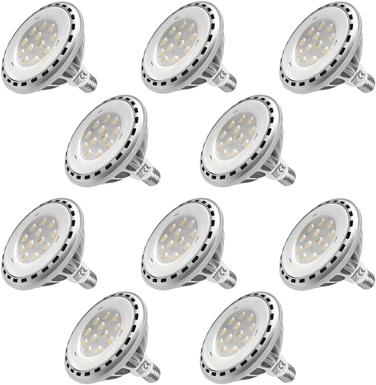DASKOO 10-er Pack E27 15W = 100W LED PAR38 Licht Aluminium Legierung Kaltwei 850LM AC 100-240V