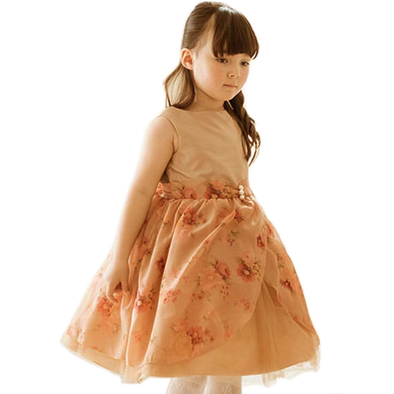 Catherine Cottage 子供ドレス 発表会 結婚式 薔薇柄ゴールドオーガンジードレス 子供服 女の子 CC0407