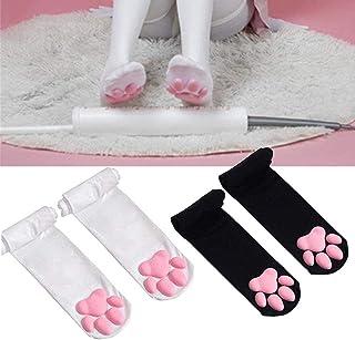 kedeg, Cute Cat Meat Cojín Cos Calcetines hasta la rodilla, Cojín de carne de gato Cos Calcetines hasta la rodilla Medias de gato Calcetines con patas Calcetines Lolita por encima de la rodilla (Negro-rosa)