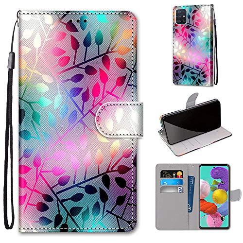 DICASI Handyhülle für Samsung Galaxy A51 Hülle Leder, Magnetverschlüsse Handytasche Schutzhülle Klapphülle mit Kartensteckplätzen & Standfunktion für Samsung Galaxy A51