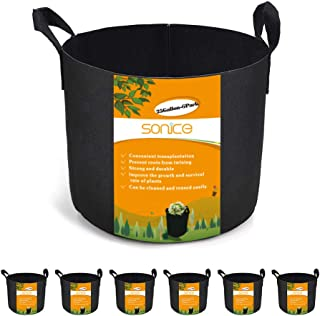 Sonice Set of 6 Pack 25 Gallons Grow Bags by, Aeration Fabric Pots With Handles